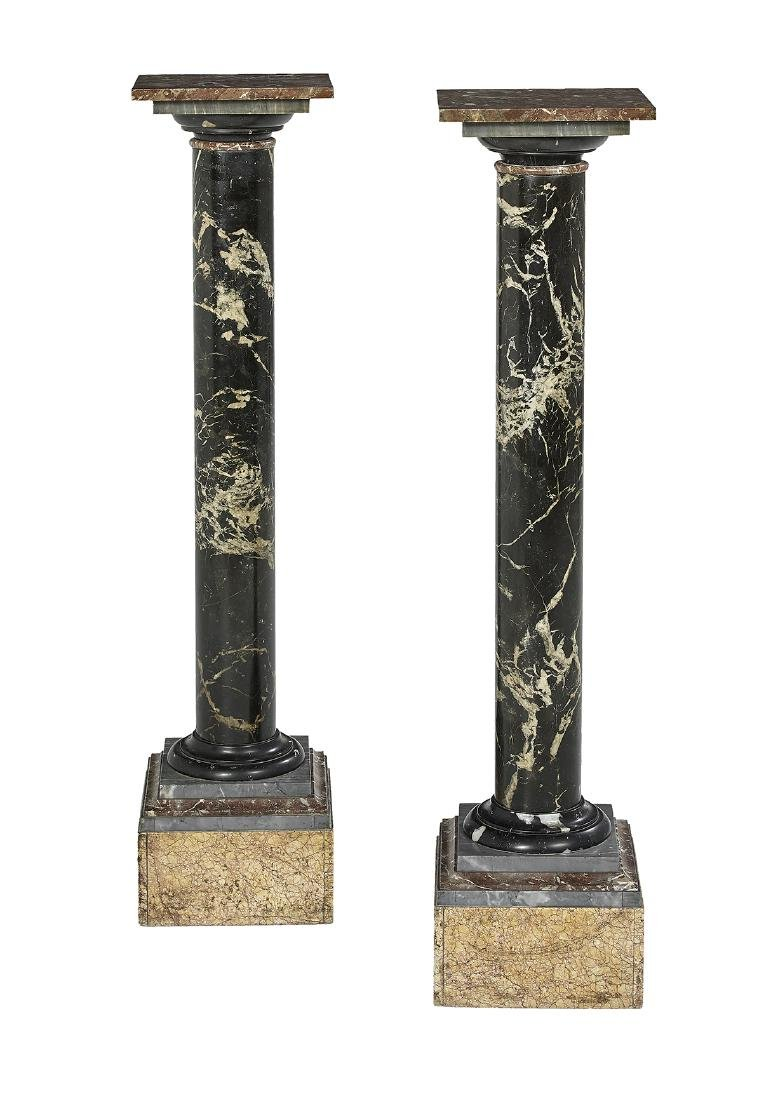 Pair of Neoclassical-Style Marble Pedestals