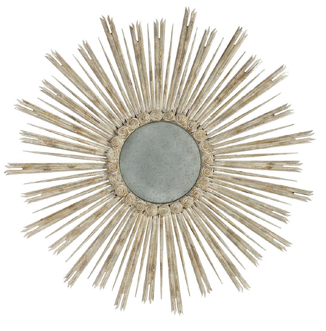 Louis XV-Style Painted Wood Sunburst Mirror