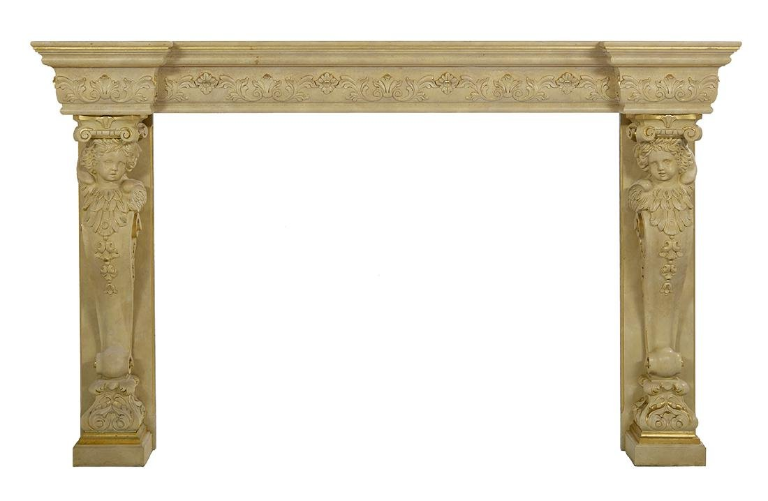 Monumental  Faux Marble Fireplace Surround