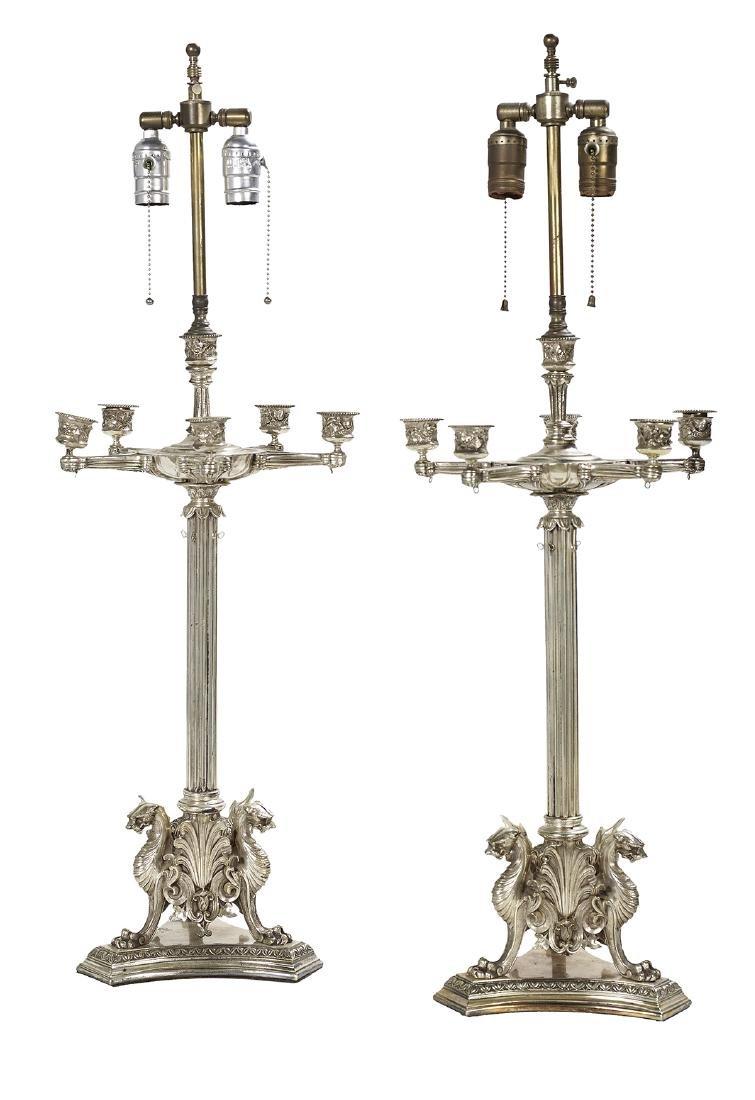 Pair of Italian Silvered Bronze Candelabra