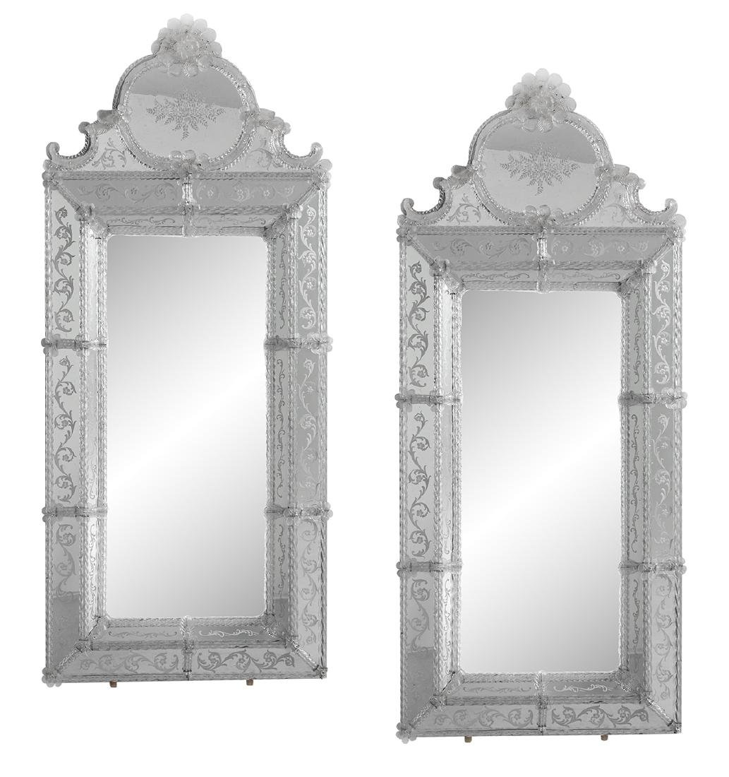 Pair of Venetian Blown and Engraved Glass Mirrors