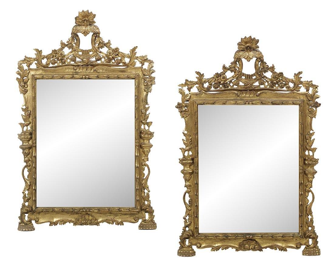 Pair of Italian Rococo-Style Giltwood Mirrors