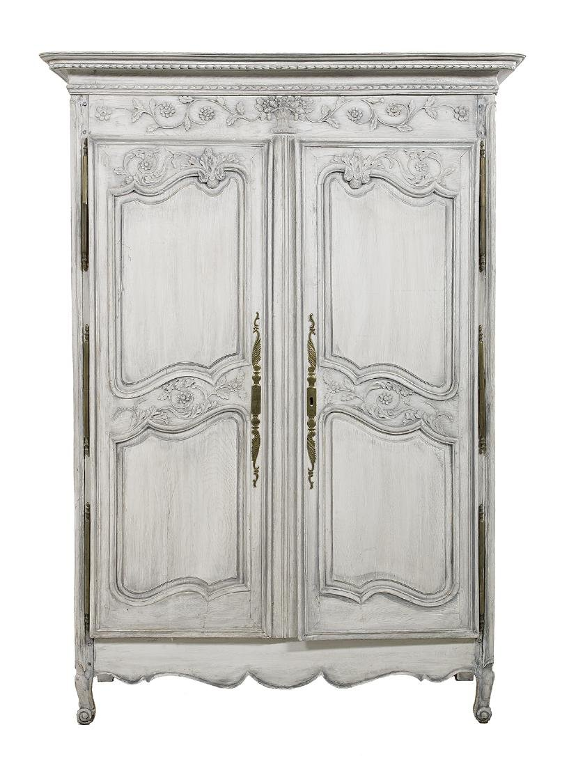 Provincial Louis XV-Style Polychromed Oak Armoire