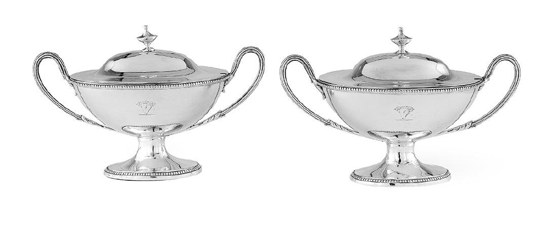 Pair of George III Sterling Silver Sauce Tureens