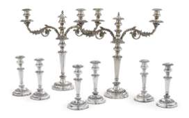8 Piece Old Sheffield Plate Table Lighting Set