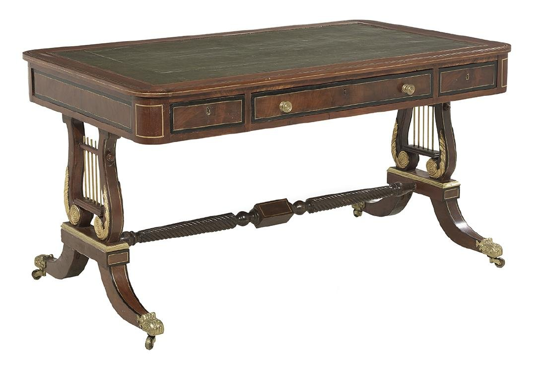 Regency-Style Brass-Inlaid Mahogany Desk