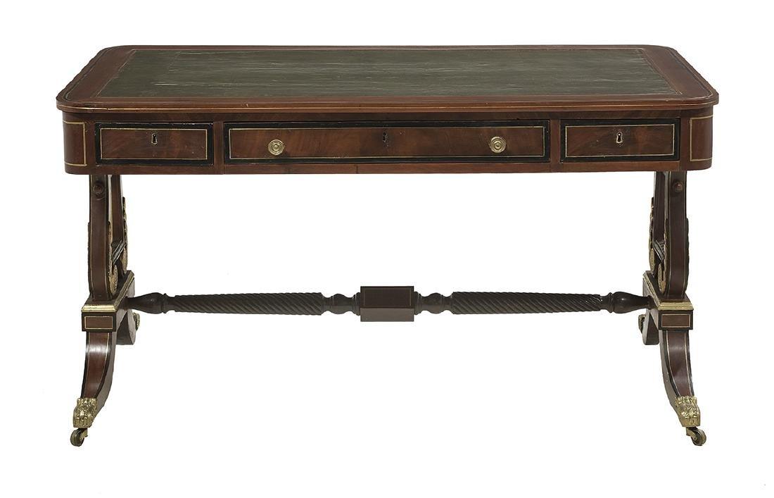 Regency-Style Brass-Inlaid Mahogany Desk - 2