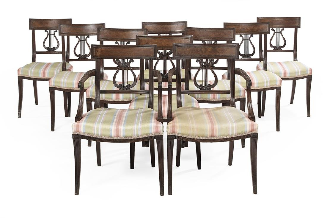 Suite of Ten Regency-Style Mahogany Dining Chairs