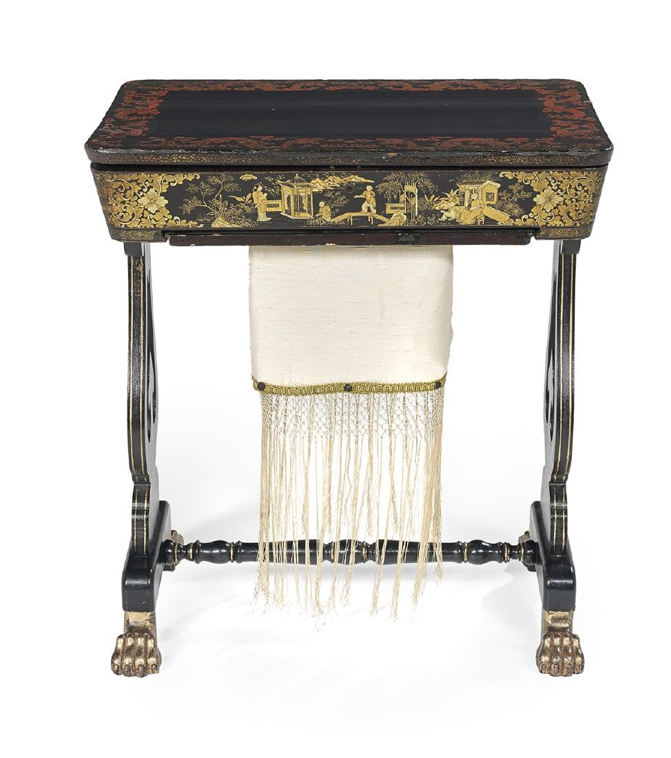 Victorian Chinese Export Ebonized Work Table