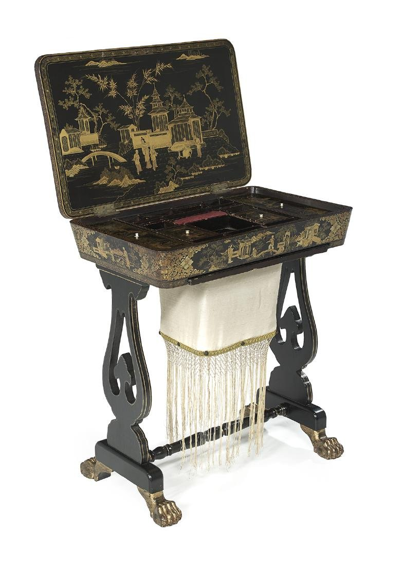 Victorian Chinese Export Ebonized Work Table - 2
