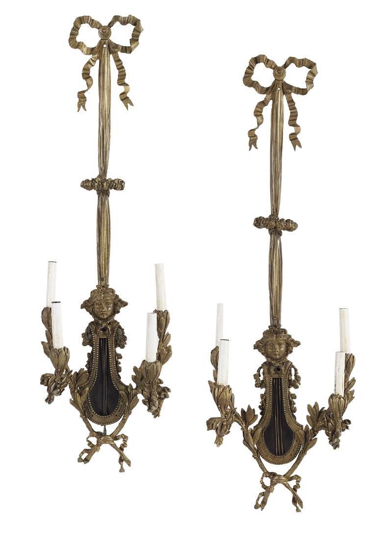 Pair of Louis XV-Style Bronze Four-Light Sconces