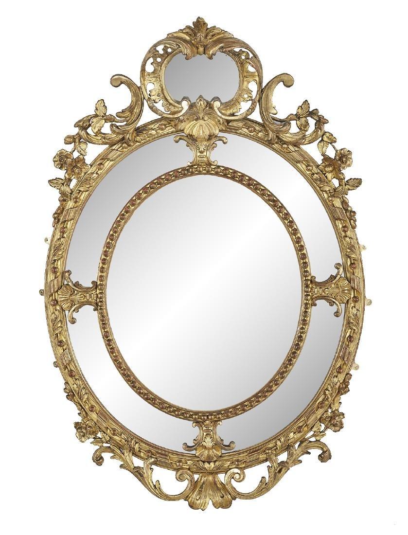 Louis XVI-Style Giltwood Oval Mirror