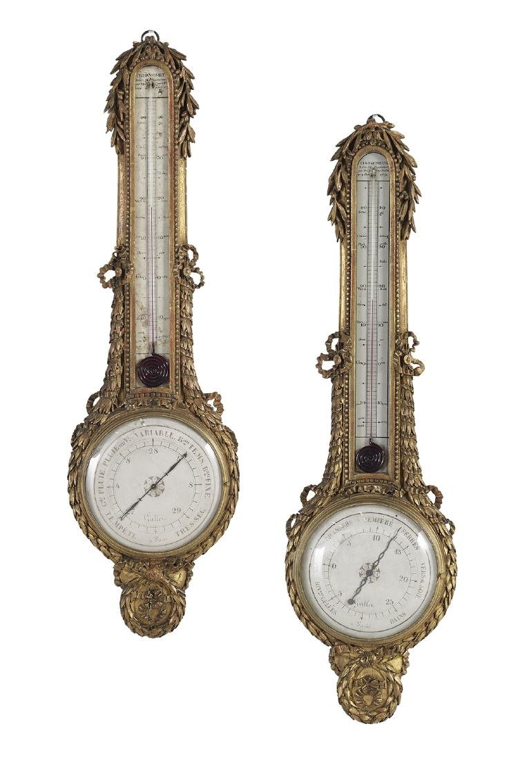 Pair of French Giltwood Barometers