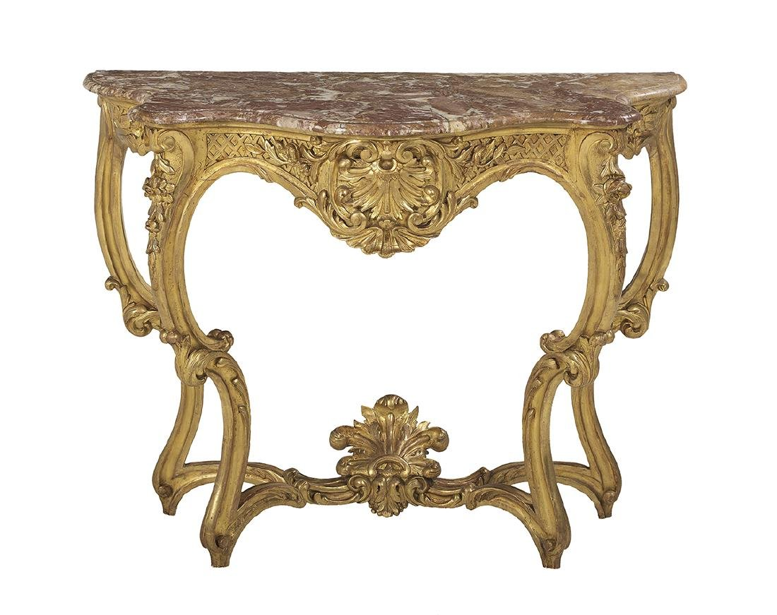 Louis XV-Style Marble-Top Console Table