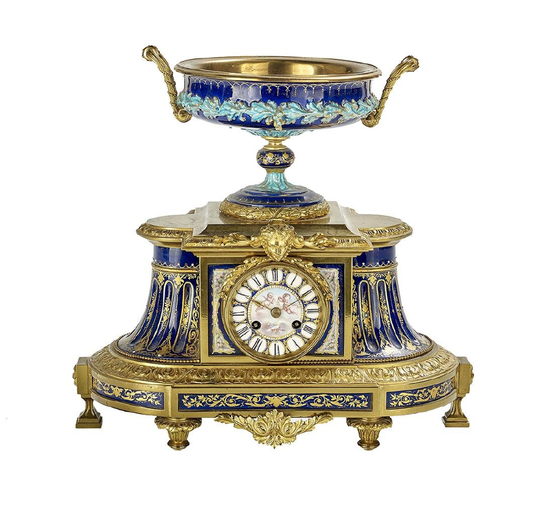 French Gilt-Bronze and Majolica Mantel Clock