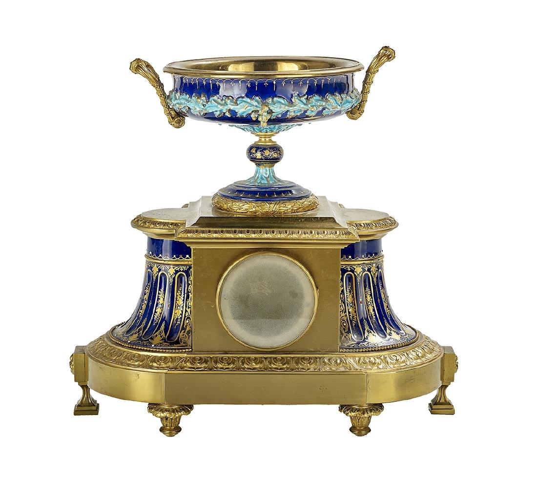 French Gilt-Bronze and Majolica Mantel Clock - 2