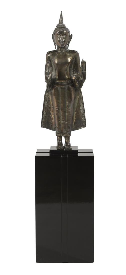 Large Thai Silver Repousse Figure of Buddha