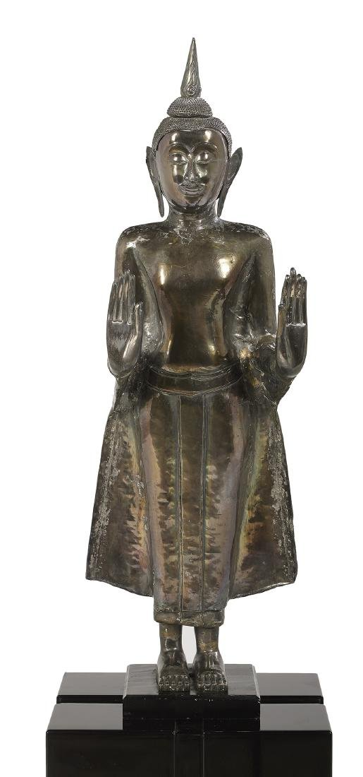 Large Thai Silver Repousse Figure of Buddha - 4