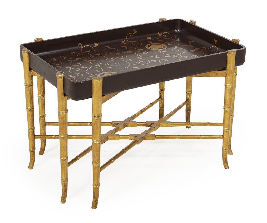 Japanese Black and Gilt Lacquer Tray on Stand