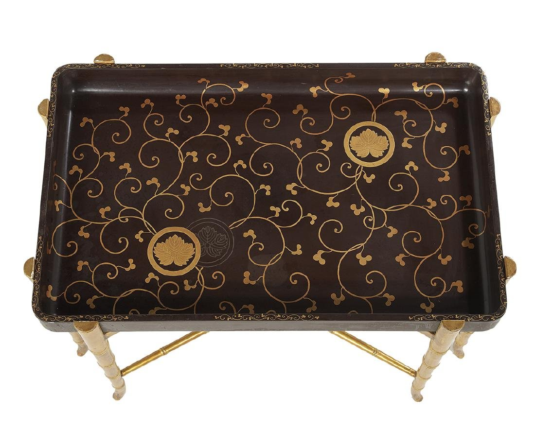 Japanese Black and Gilt Lacquer Tray on Stand - 2