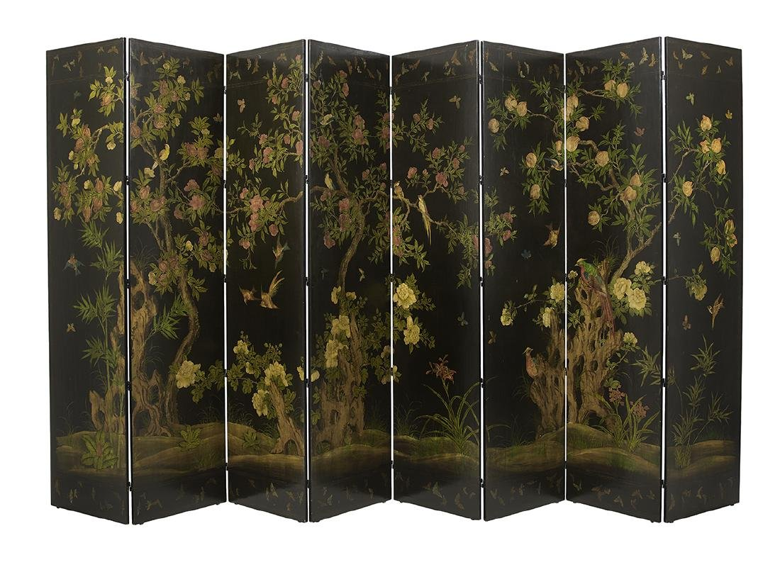 Chinoiserie-Style Eight-Panel Floor Screen