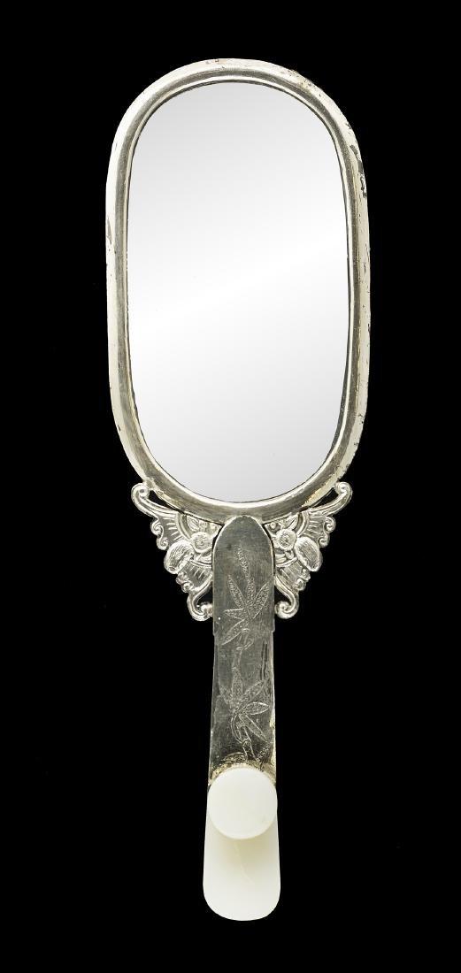 Chinese White Jade Belt Hook & Plaque Hand Mirror - 2