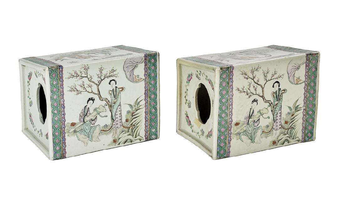 Pair of Chinese Famille Verte Porcelain Pillows - 2