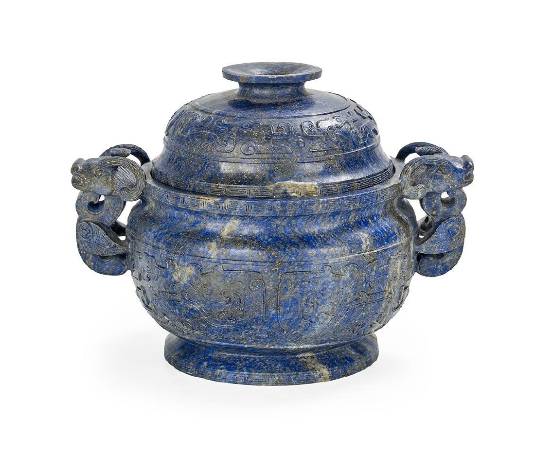 Chinese Lapis Lazuli Covered Censer
