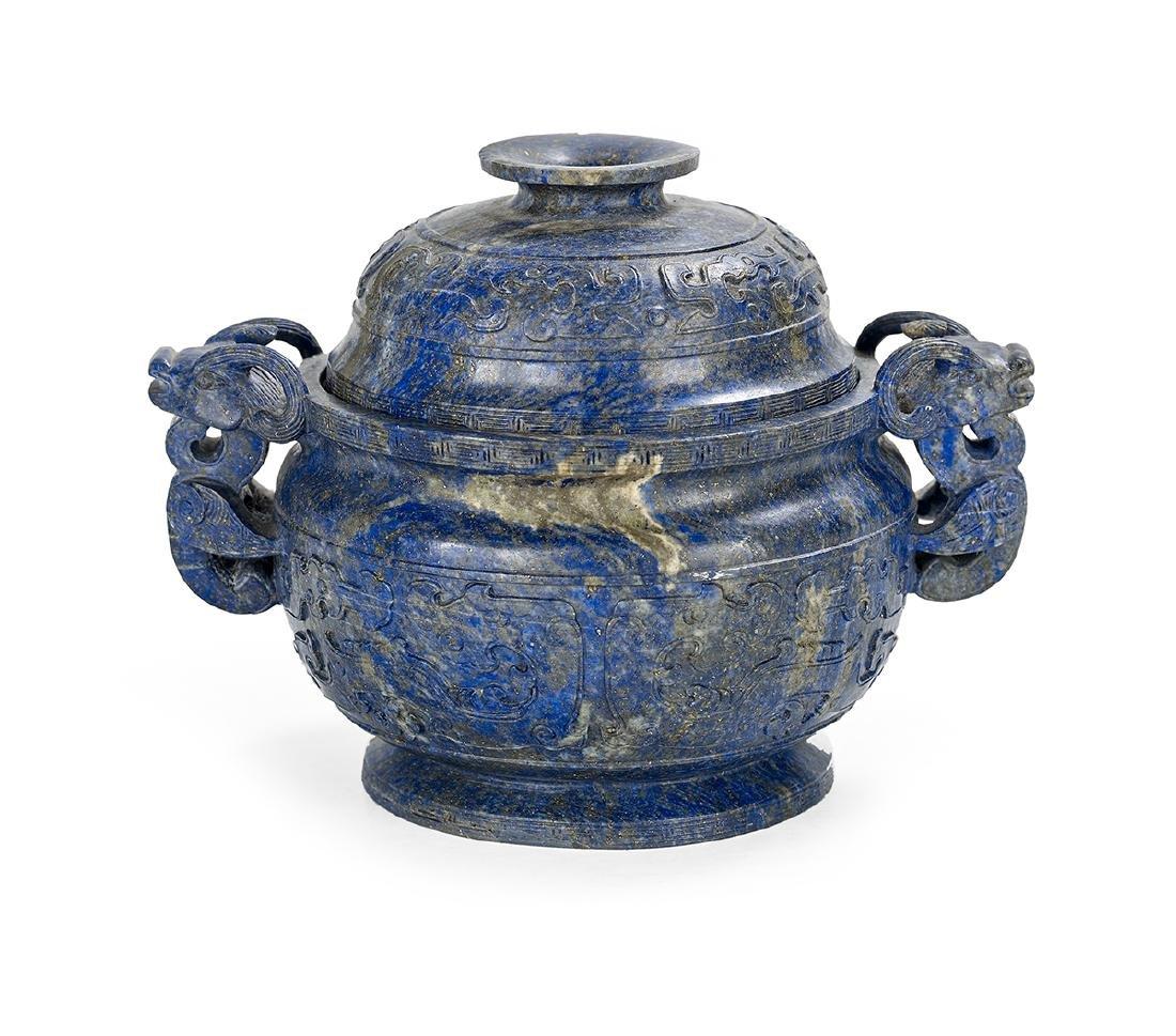 Chinese Lapis Lazuli Covered Censer - 2