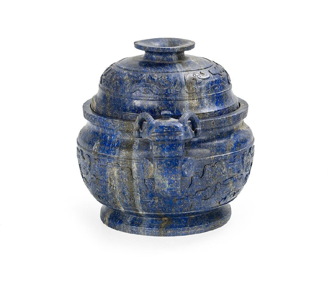 Chinese Lapis Lazuli Covered Censer - 3