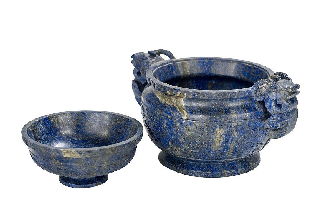 Chinese Lapis Lazuli Covered Censer - 4