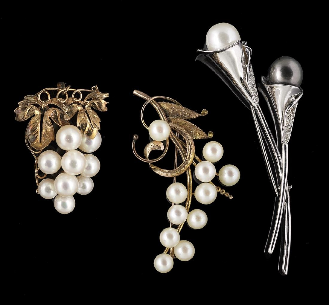 Three Pearl Brooches