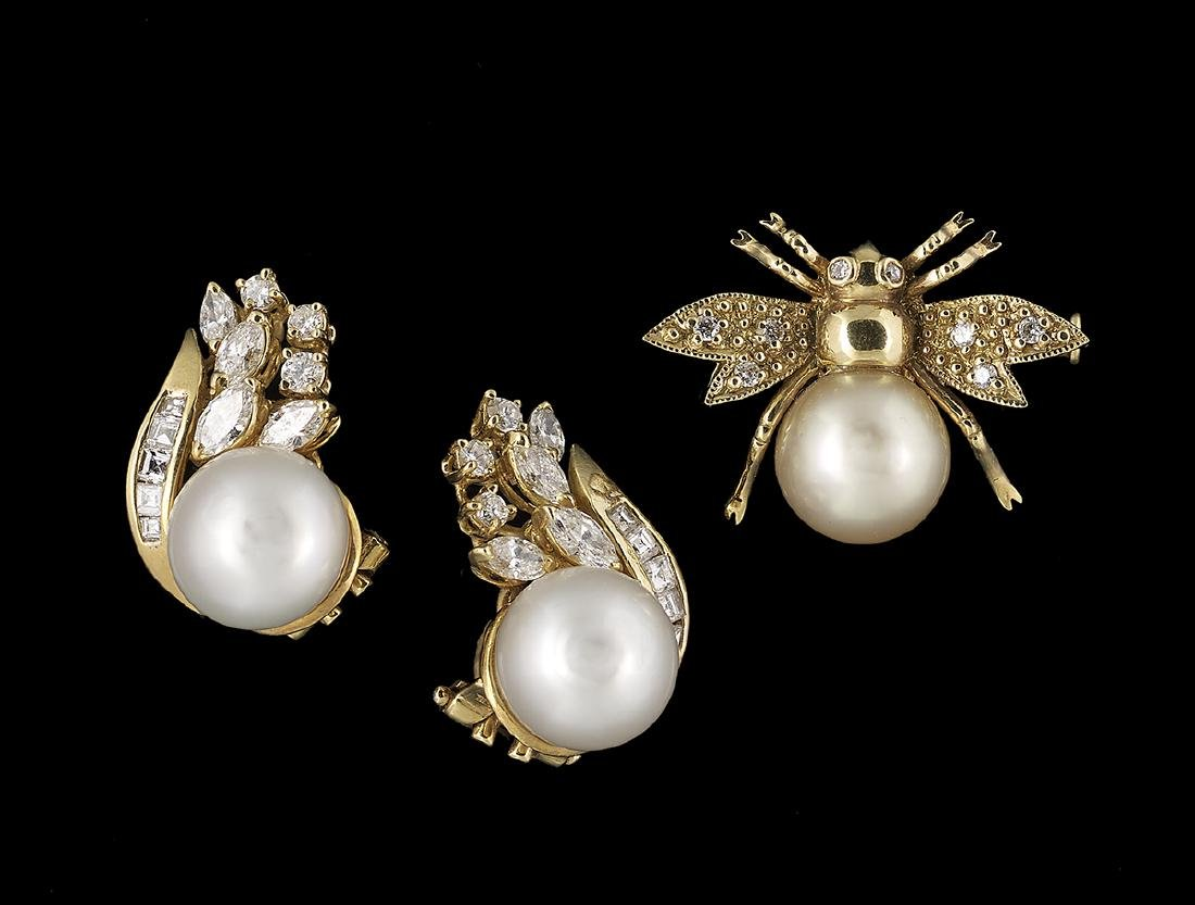 Pearl and Diamond Earrings and Brooch