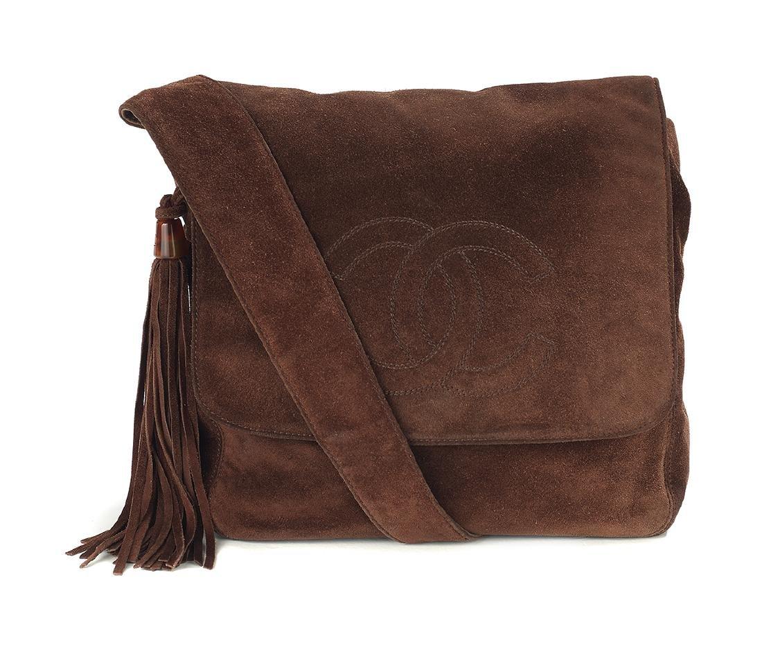 Vintage Chanel Mahogany Suede Tasseled Saddle Bag