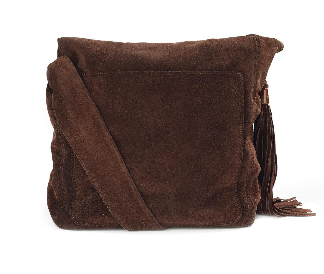 Vintage Chanel Mahogany Suede Tasseled Saddle Bag - 2