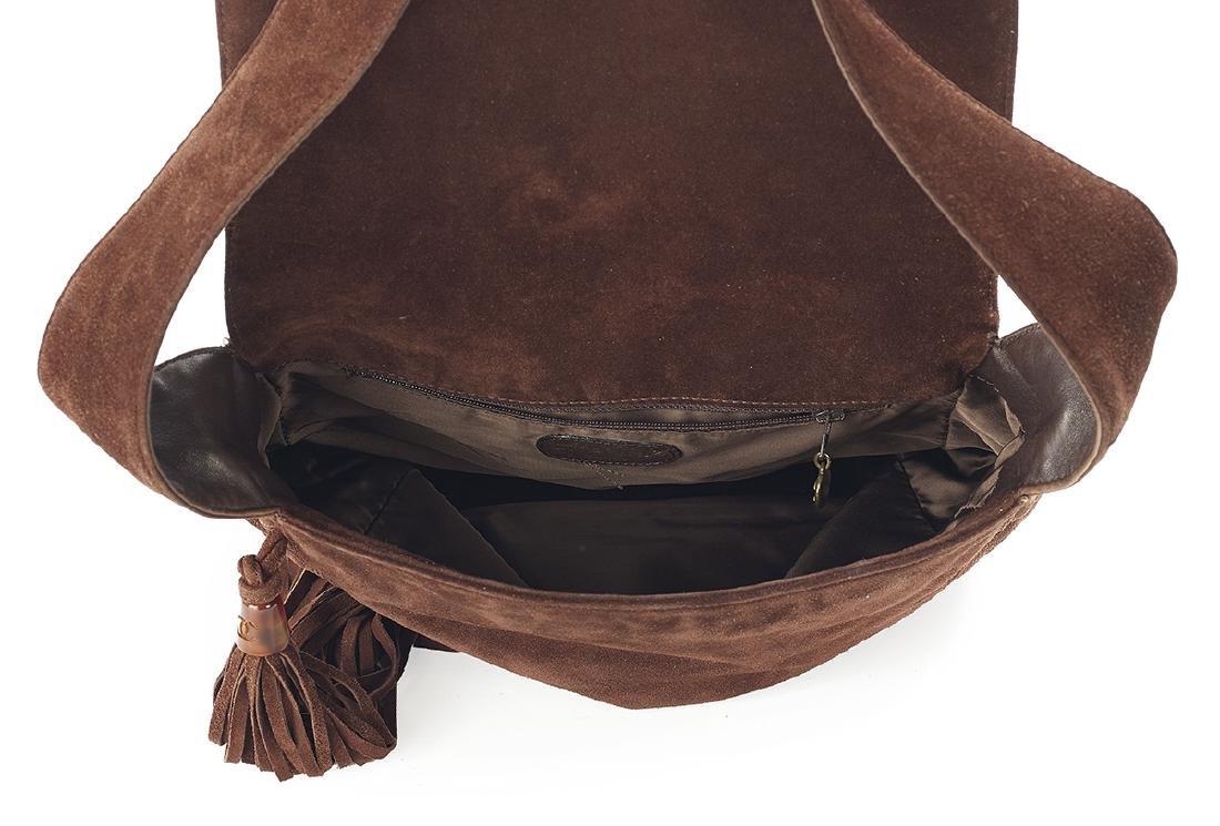 Vintage Chanel Mahogany Suede Tasseled Saddle Bag - 3