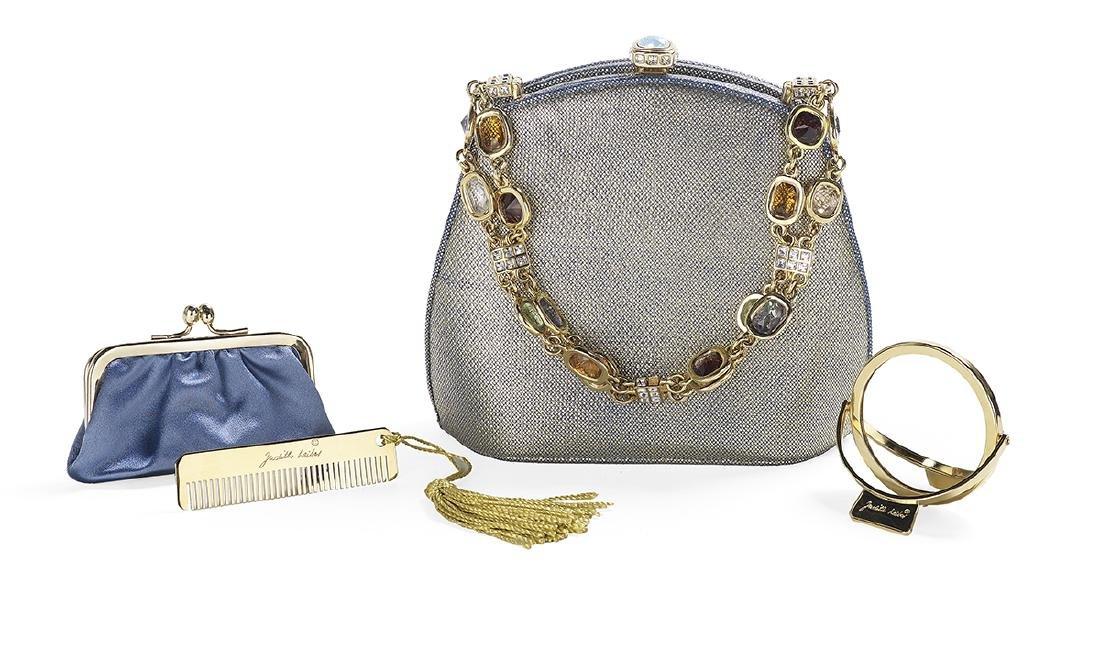 Judith Leiber Gilt Cornflower Blue Evening Bag