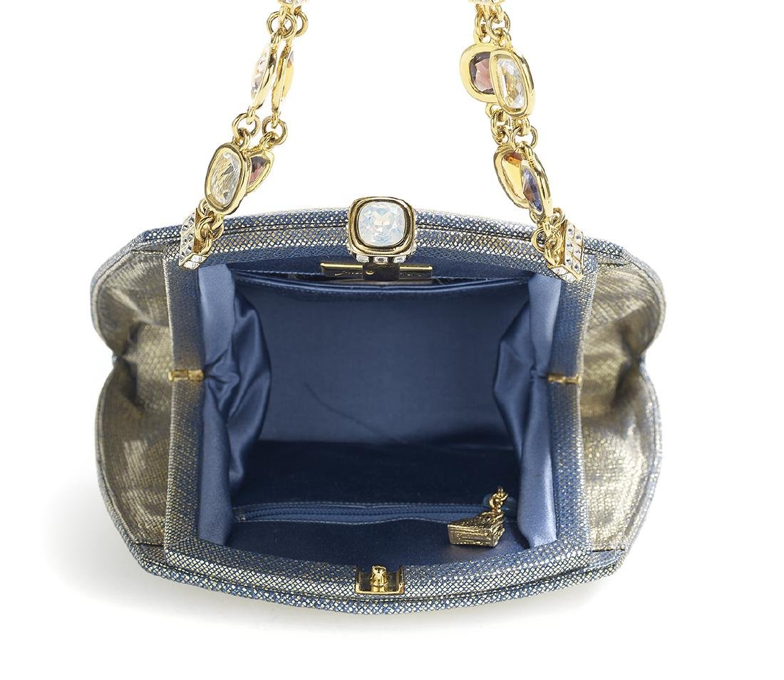 Judith Leiber Gilt Cornflower Blue Evening Bag - 2