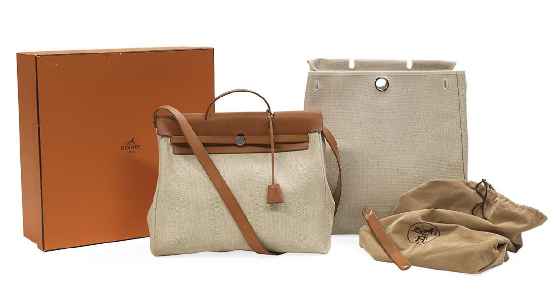 """Hermes, Paris, Toile and Leather """"2-in-1 Herbag"""""""
