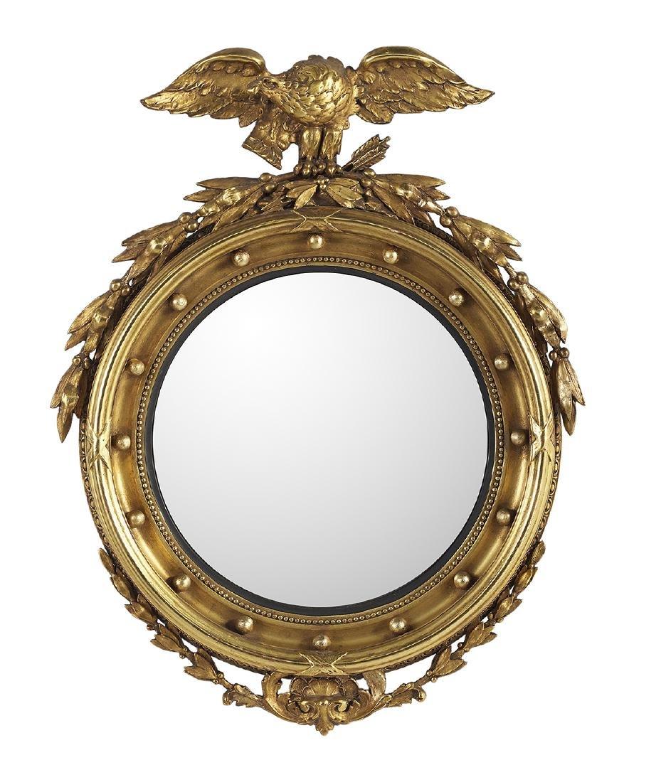 American Giltwood Convex Mirror