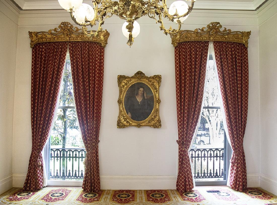 Pair of Burgundy and Gold Curtains