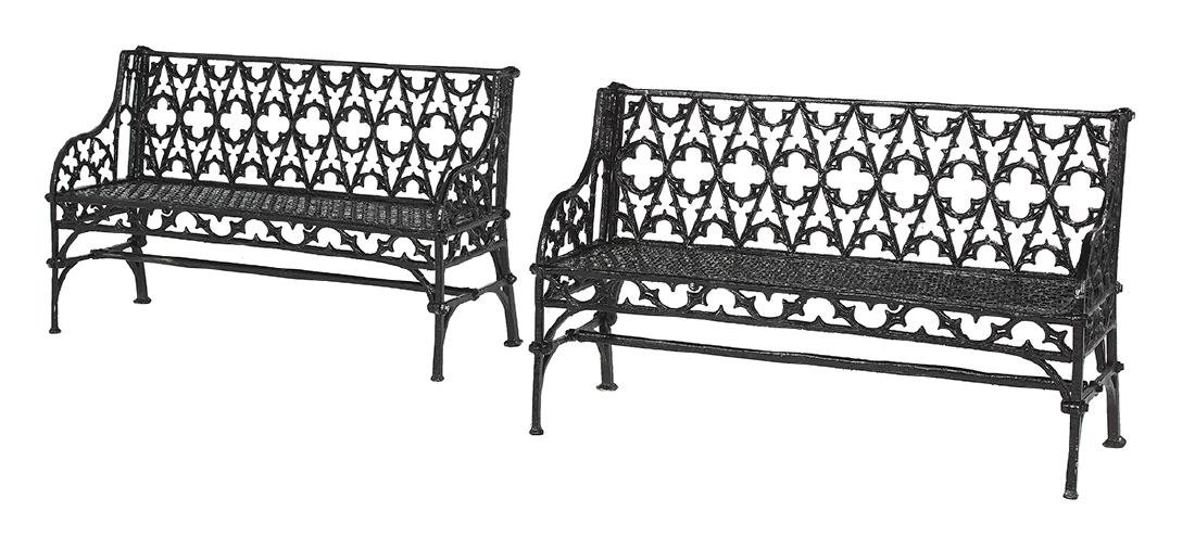 Pair of French Gothic Cast Iron Garden Benches