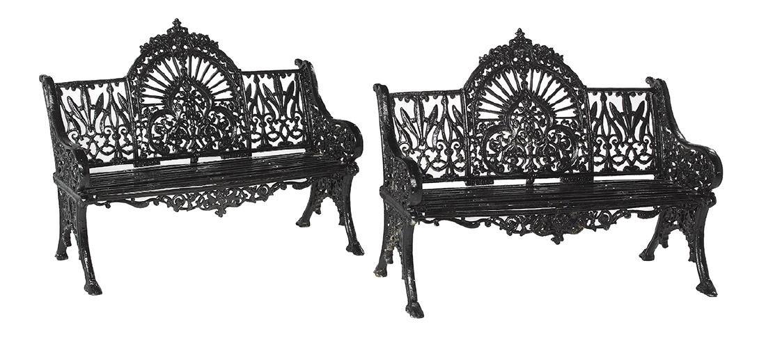 """Pair of Cast Iron """"Peacock"""" Garden Benches"""