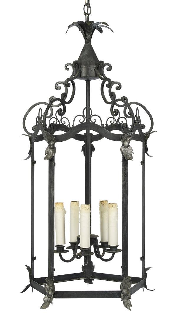 Rococo-Style Patinated Metal Lantern