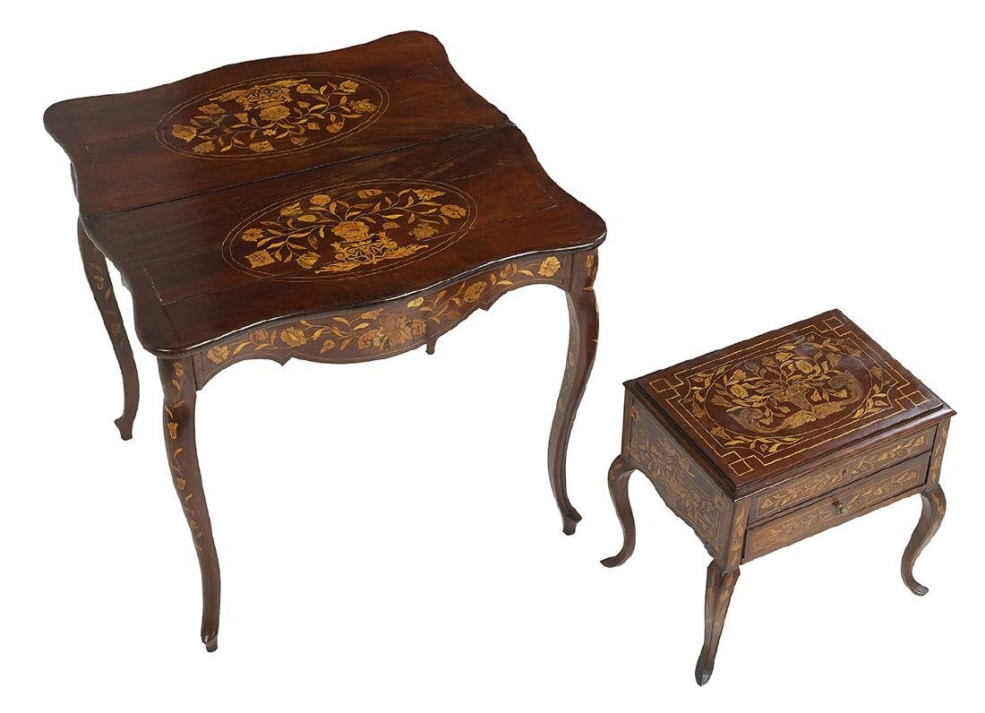 Dutch Marquetry Games Table and Commode - 2