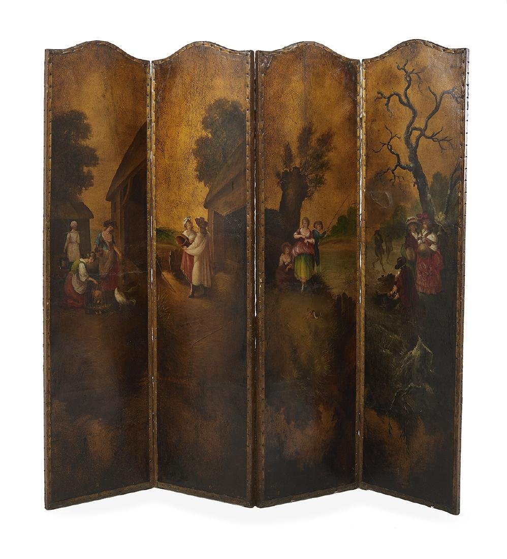 Louis XV-Style Painted Leather Screen