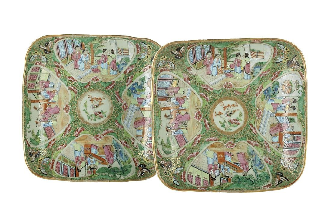 Pair of Chinese Export Rose Canton Square Dishes