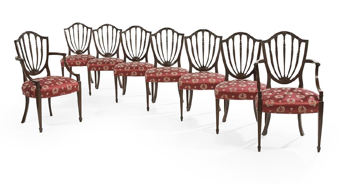 Eight George III-Style Mahogany Dining Chairs