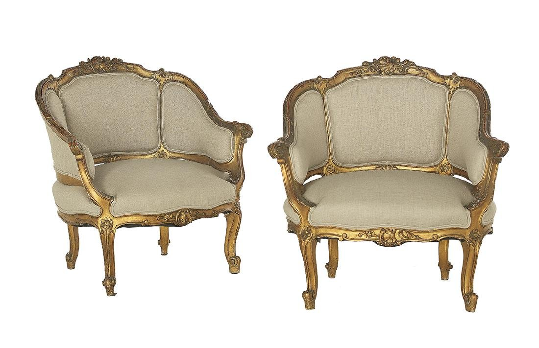Pair of Louis XV-Style Polychrome Bergeres