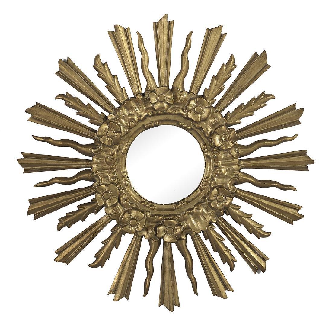 """Louis XV-Style Giltwood Sunburst Mirror dia. 31"""""""